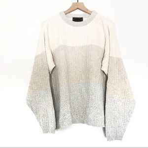 Oversized Chunky Neutral Color Block Sweater